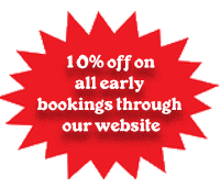 10% off on early bookings through website
